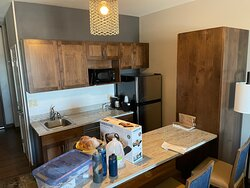 Kitchenette - no stove and no dish soap offered. BUT it has a dishwasher.