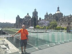 """Just beside the """"ruin site"""" which is slightly below the northeast corner of the Plaza (with also Catedral Metropolitana on the Plaza's north side seen behind me)"""
