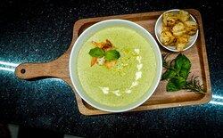 Assol                                                              broccoli cream soup with tiger prawns