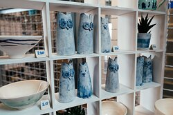 Cáit Gould pottery for sale upstairs at The Base