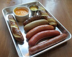 Hollander Platter.  One each of their house wursts...