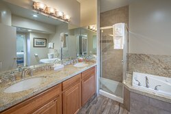 Large soaking tub and walk-in shower in master bathroom