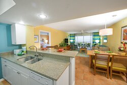 Fully equipped kitchen with living and dining area