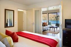 1 Bedroom Suite Bedroom and View from Bedroom