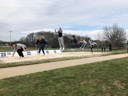 Grace Prebysterian Academy students enjoy competing with Jesse's broad jump record.