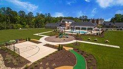 Basketball court, mini golf, and playground.