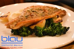 Local red Snapper with parsnip lemon roasted Broccoli & dill oil.