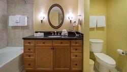 Bathroom in a standard king room.