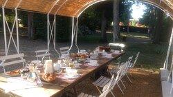 Petit-déjeuner extérieur, sous la tonnelle