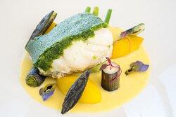 Seabass with Parsley & Pistachio crust