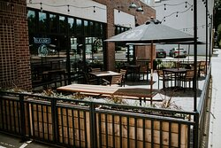 Outdoor patio with heaters. Dogs welcome!