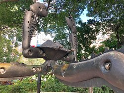 """""""Crab No 1"""" by artist Lee Cheung, one of 20 or so sculptures at the Sculpture Garden inside Kowloon Park. In the 1980s, Cheung did a series of these giant futuristic crabs."""