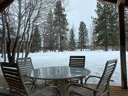 """Cabin """"B"""" - Patio View (Winter)"""