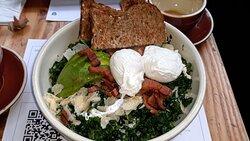 Poached Egg Avocado Kale Salad