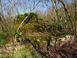 Un masso di peperino con evidenti lavorazioni di natura artificiale (nei pressi del Sasso del Predicatore 2)