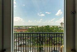Enjoy views of the city from your balcony