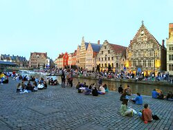 'Mass gathering' at the old medieval harbour of Ghent in covid-19 times. Part of Ben's Highlights Tour.