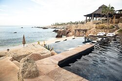 View from one of the adult pools, looking at Cocina del Mar restaurant on property.