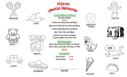Mijares Childrens Placemat Menu! The kids will love having their own menu to order from and color!