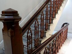 marble, iron and wood on the stairs