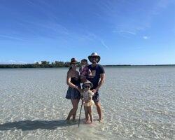 Family photo while taking a break on the sandbar