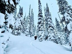 Earn your turns, ready for a epic day at Purcell Mountain Lodge.