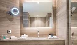 Enjoy our bathroom with contemporary lines during your stay.