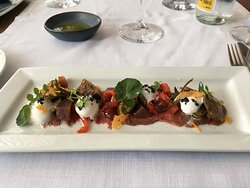 Venison Carpaccio with Wild Mushrooms, Escabeche Pears with wine & Manchego cheese mousse