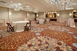 Clutter-free event spaces configured to allow social distancing.
