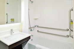 Accessible bathroom in some studio suites.