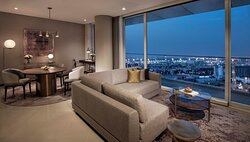 A gorgeous living space with unobstructed view of the city