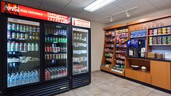 On-site store, large variety of foods, beverages, personal items