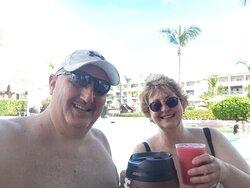 Cheers at the pool bar.
