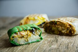 Baja Wrap, Chili Burrito, Breakfast Burrito (pictured from front to back)