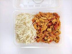 Tofu sauce with basmati rice
