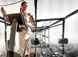 Fully-outfitted gym with high-end workout equipment