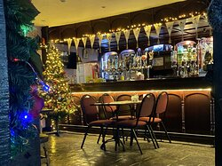 Our Bar Area decorated at Christmas.