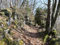 a rocky area near the ruins