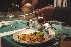 Tisch mit Pasta