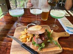 Steak sandwich and Coconut Beach cocktail.