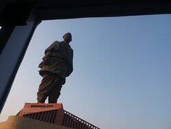 Statue of Unity seen from inside the cruise boat