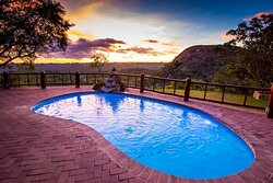 Pool area with a view of the stunning Matobo hills landscape