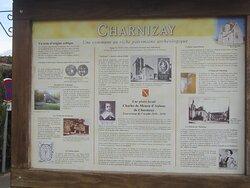Dolmen Les Palets de Gargantua. Vue 4. Panneau d'Informations Sur Le Bourg. Charnizay 37290.