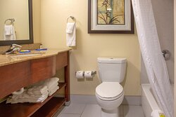 Well lit Guest Bathroom with premuim bath products