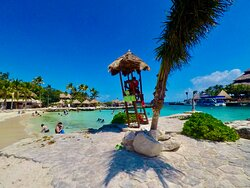 Life guard spot to keep everyone safe at the beach side in Xcaret Park