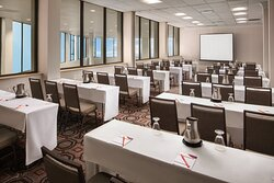 Bright windows and LED lighting set the scene for meetings.