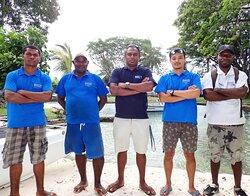 NDA Dive staff at the Madang Resort's PADI Dive facility
