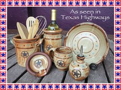 """A selection of items made by Luling Icehouse Pottery that have been featured in the official Texas state travel magazine """"Texas Highways""""."""