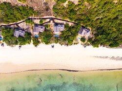 Aerial view of Beach Pool Villas on beach