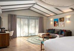 Interior view of marine-themed bedroom in Beach Pool Villa and Beach Villa